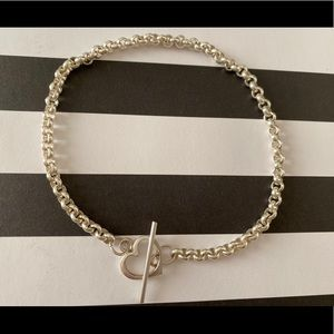 NEW 925 Sterling Silver Anklet with Heart Toggle